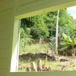 Vue de la chambre sur le jardin.